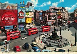 Piccadilly Circus London Coca-cola Double-decker Bus The Beatles Cars 4x6