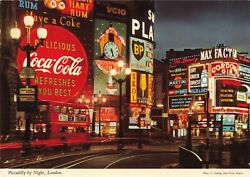 Piccadilly By Night London Coca-cola Skol Boothand039s Gin Martini 4x6 Postcard