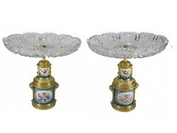 Antique French Sevres Pair Of Bronze, Porcelain And Crystal Fruit Stands Ar743