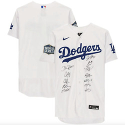 Los Angeles Dodgers Signed 2020 Mlb World Series Champions Nike Jersey Unframed