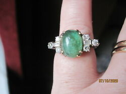 Antique 14k Tourmaline And Diamond Cocktail Ring Size 6 - Italy