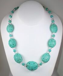 Estate Vintage Antique Carved Genuine Turquoise Necklace W/ Solid Ss 925 Clasp