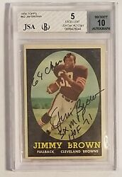 1958 Topps Jim Brown 62 Bvg Bgs 5 Jsa 10 Auto Autograph Rookie Rc Signed Jimmy