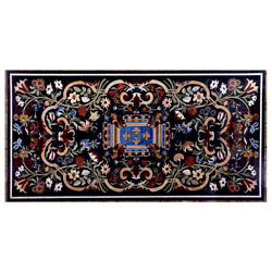 60 X 32 Black Marble Center Table Top Floral Inlay Pietra Dura Work Home Decor