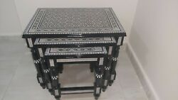 Antique End Table Set, Wood Tables Inlaid Shell Coffee Table Black End Table Top