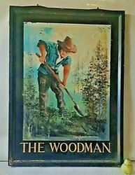 Massive Vintage Double Sided English Pub Inn Sign The Woodman By Roger Anderson