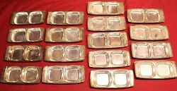 17 Vintage Twa Airlines Sambonet Oneida Silver Plate Snack Trays, Made In Italy