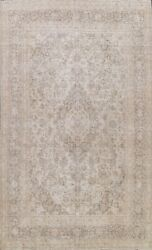 Antique Traditional Muted Distressed Hand-knotted Evenly Low Pile Area Rug 8x11