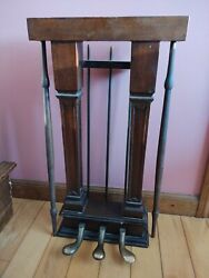 Vintage Piano Parts From Ivers And Pond, Brass Pedal Feet Encased In Hardwood