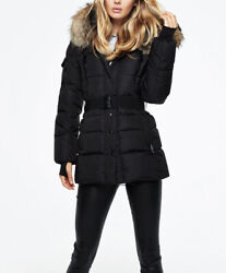 Sam New York Millenium Puffer Down Jacket In Black With Natural Racoon Fur Xs