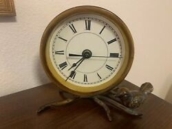 Metal Clock Sitting On Metal Branch With Bird Home Decor
