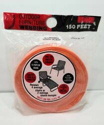 New Vintage Outdoor Furniture Webbing Orange And White 150 Feet 2 1/4 In