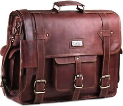 Brown Leather Computer Vintage Laptop Bag Leather Satchel for Men 18 inches $62.99