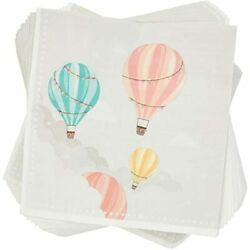 Hot Air Balloon Paper Napkins Baby Shower Party 6.5 X In 100 Pack Health Andamp