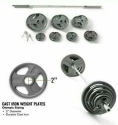 300 Lb Olympic Weight Set Weider Cast Iron Hammertone Plates 7ft Barbell Collars