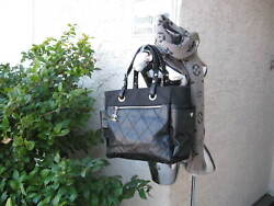 New Paris Biarritz Xl Quilted Leather/canvas Tote/shoulder Bag W/pouch