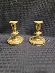 Pair Baldwin Brass 4 Inch Tall Mid Century Candle Stick Holders