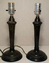 Pair Of Dept 56 Bronze Table Lamp 11 Tall, Round Base, Made In India