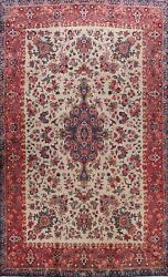 Antique Traditional Floral Ivory Large Area Rug Handmade Oriental Carpet 10x14