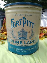 Fort Pitt Brand Pure Lard, 50 Lb. Size Tin,   Made In Pittsburgh Pa