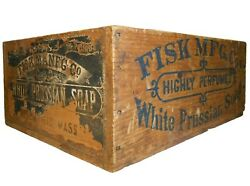 Fisk Mfg. Co. White Prussian Vint Ink Stamped Wood Box Soap Crate W/paper Label