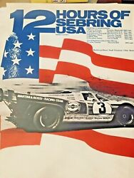 Awesome Porsche 12 Hours Of Sebring Usa 1971 Poster