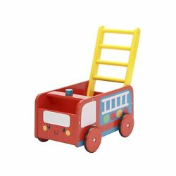 Labebe - 4 Wheels Walker For Baby, Red Push Wagon Cart For Kid, Push Toy Walk...