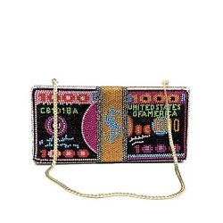 STACK OF CASH RICH Dollars Crystal Clutch Purses for Women Evening Bags Party... $58.21