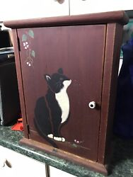 Nice Antique Wall Cabinet Cupboard Hanging Wood Cabinet Painted Cat