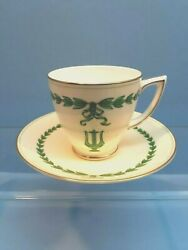 Minton Green Lyre Demitasse Cup And Saucer Set Of Four