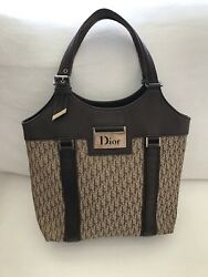 Authentic Christian Dior Street Chic Trotter Hand Tote Bag Canvas Leather. RARE $345.00