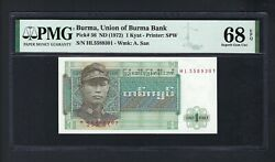 Burma 1 Kyat Nd1972 P56 Uncirculated Grade 68
