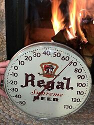 Vintage 12in Round Glass Regal Beer Peoples Brewery Thermometer Sign Duluth Mn