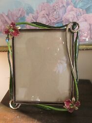 Jay Strongwater Large Picture Frame 9.5 X 7.5 Crystal Flowers Enamel