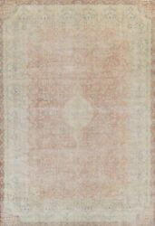 Semi-antique Evenly Low Pile Traditional Distressed Area Rug Hand-knotted 10x13