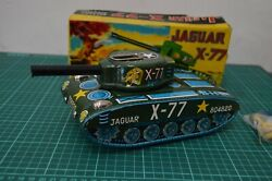 Vintage Japan Tin Toy Battery Operated Daiya Jaguar X-77 Tank Complete With Box
