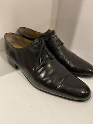 Stefano Ricci Mens Embossed Genuine Leather Oxford Shoes Black Lace 11.g
