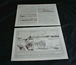 1915 Wwi Magazine Print 'diagrams Showing How A Howitzer Works ' Size10.5 X 8