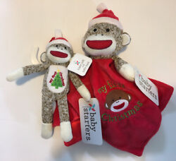 2 Baby Starters My First Christmas Sock Monkey Rattle And Ornament Set Nwt