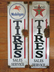 Pair Of Vintage Style/reproduction Gas Signs - Texaco And Mobilgas
