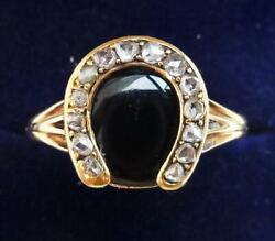 Gorgeous Victorian 18ct Gold Onyx And Rose Cut Diamond Lucky Horseshoe Ring