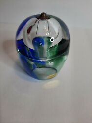 Art Glass Oil Lamp Heavy Paperweight Hand Made In Poland Multi Color Home Decor