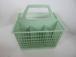 Vintage Silverware Caddy Plastic Dish Washer Utensil Holder Green 6 Space Mesh G