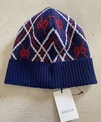 Nwt Mens Gg Monogram Wool Beanie Hat Red/blue Size M Italy