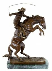 The Bronco Buster Cowboy Bronze Figure Western Style Sign Frederic Remington