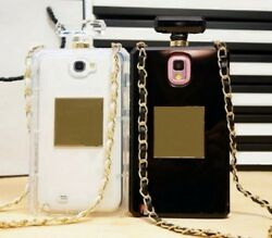 Clear Perfume Bottle Chain Strap Necklace Phone Cover Case For Samsung Galaxy S5