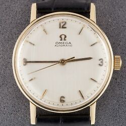 Omega Andomega 14k Yellow Gold Menand039s Automatic Watch W/ Leather Band Mov 552