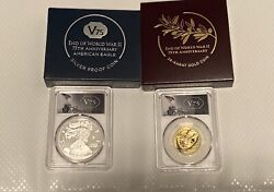 End Of World War Ii 75th Anniversary Silver Proof And 24-karat Gold 1/2 Oz Coin