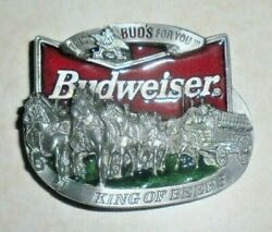 Budweiser Beer This Bud's For You Belt Buckle-clydesdale Horse Drawn Wagon