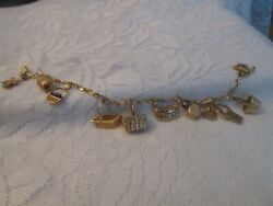 Vintage Italy 14kp Yellow Gold Charm Bracelet With 11 14kp Longaberger Charms